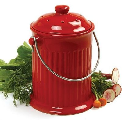 Odor-Free Compost Keeper Ceramic Crock - Red