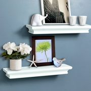 AHDECOR White Floating Shelves, Ledge Wall Shelf for Small Display Items