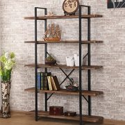 O&K FURNITURE 5-Shelf Industrial Style Bookcase and Shelves