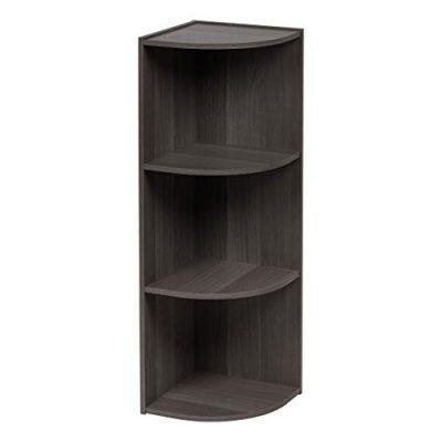 IRIS USA, Inc. 3-Tier Corner Curved Shelf Organizer, Gray