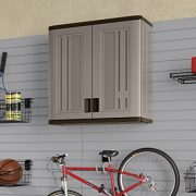 Suncast Wall Storage Cabinet - Resin Construction for Wall Mounted Garage