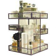 360 Degree Rotation Glass Perfume Holder Makeup Organizer Antique