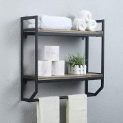 "2-Tier Metal Industrial 23.6"" Bathroom Shelves Wall Mounted"