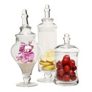 MyGift Designer Clear Glass Apothecary Jars (3 Piece Set)