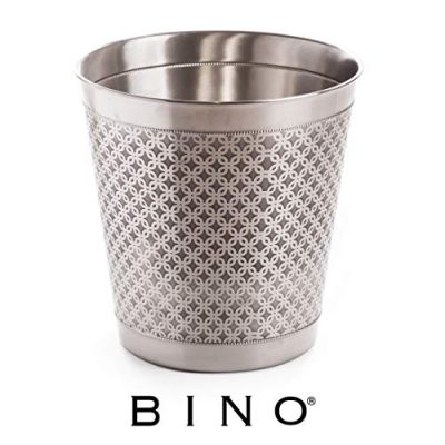BINO Metal Waste Basket Bathroom Trash Can for Bedroom