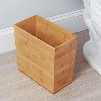 iDesign Formbu Wood Wastebasket, Small Square Trash Can for Bathroom