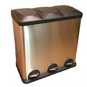 Triple Compartment Trash Can Smell Proof Garbage Kitchen Step