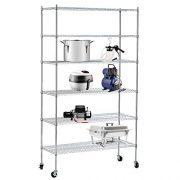 "SUNCOO Steel Wire Shelf Strengthen Utility 46"" W x 82"" H x 18"" D Wire Shelves"