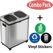 iTouchless 16 Gallon Touchless Trash Can and Recycle Bin Combo Unit