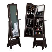 LED Mirrored Jewelry Cabinet Organizer, Full Length Standing Jewelry Storage