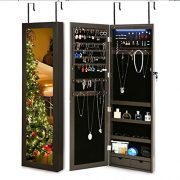 RISAR Jewelry Cabinet Wall/Door Mounted Lockable Jewelry Armoire Organizer