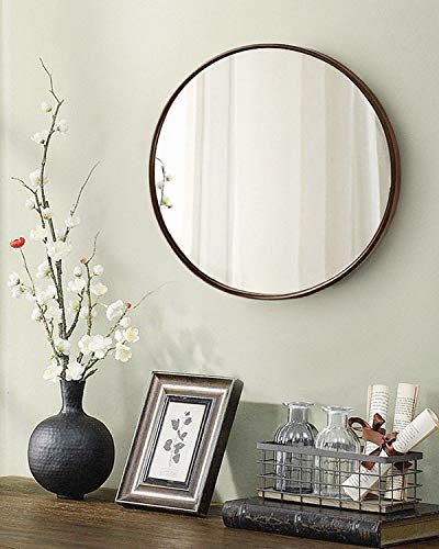 """TinyTimes 23.63"""" Large Clean Round Wall Mirror, Circle Vanity Mirror"""