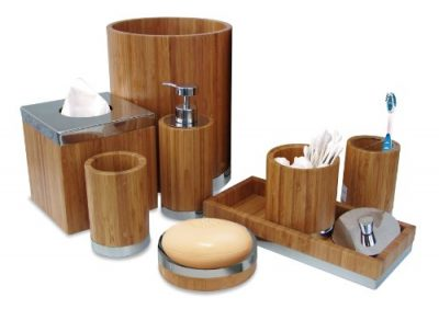 nu steel Ageless Bamboo/Metal Bath Accessory Set for Vanity countertop