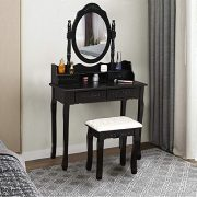 Vanity Table Set Black, (Ship from USA) with Oval Mirror and Makeup Organizer
