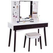 BEWISHOME Vanity Set with Mirror, Cushioned Stool, Storage Shelves