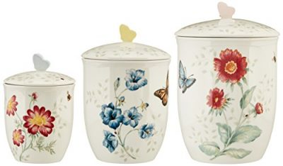 Lenox 3 Piece Butterfly Meadow Canister Set, White