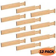 DIOMMELL 12 Pack Bamboo Adjustable Dresser Drawer dividers Organizers