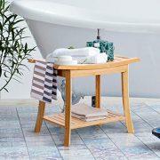 Bamboo Shower Seat Bench Bathroom Spa Bath Organizer Stool