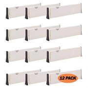 DIOMMELL 12 Pack Adjustable Dresser Drawer Dividers Organizers