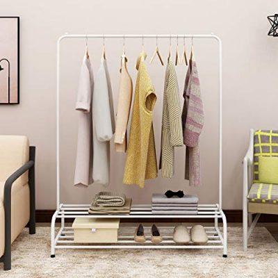 BOFENG Clothes Rack Metal Garment Racks Heavy Duty Indoor Bedroom