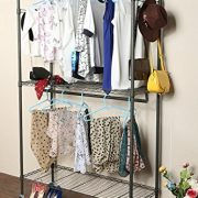 Homdox 3 Shelves Wire Shelving Clothing Rolling Rack Heavy Duty