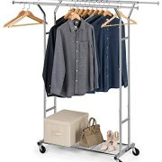 Bextsware Clothes Garment Rack On Wheels, Expandable Double Rails