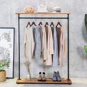 HANS CAO Heavy Iron Wood Clothes Rack, Garment Hanger