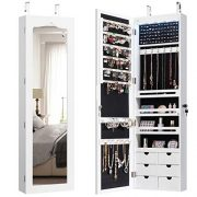 CHARMAID 5 LEDs Mirror Jewelry Armoire Wall Door Mounted