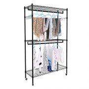 Heavy Duty 3 Shelves Wire Shelving Closet Organizer Garment Rack