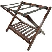 Deluxe Folding Wooden Luggage Rack with Shoe Shelf