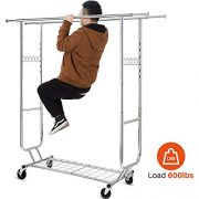 HOKEEPER Double Clothing Garment Rack with Shelves Capacity
