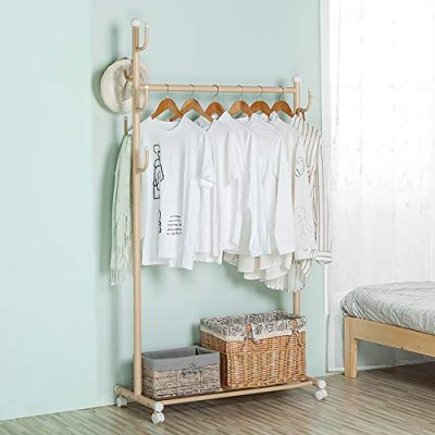SINGAYE Clothes Rack 2-in-1 Coat Rack Rolling Garment Rack