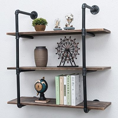 Industrial Pipe Shelves with Wood 3-Tiers,Rustic Wall Mount Shelf