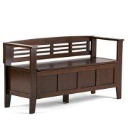Simpli Home Adams Solid Wood 48 inch Wide Rustic Entryway Storage Bench