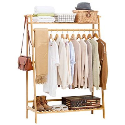 COPREE Bamboo Garment Coat Clothes Hanging Heavy Duty Rack
