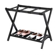 Fine Home Luggage Rack Stand with Shoe Shelf,Compact Folding Design
