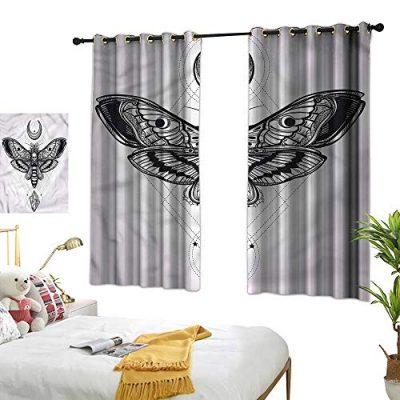 Blackout Curtains Monochrome Moth Bug Design Privacy Protection