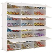 KOUSI Portable Shoe Rack Organizer 24 Grids Tower Shelf Storage Cabinet