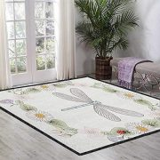 Dragonfly Anti-Skid Area Rug,Vintage Retro Farm Life Inspired Moth