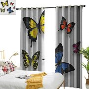Littletonhome Thermal Curtains Butterfly Various Colorful Butterflies Pattern