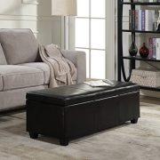 "BELLEZE 48"" inch Long Rectangular Upholstered Storage Elegant Ottoman Bench"
