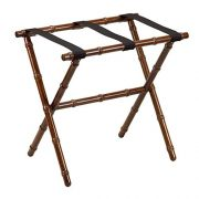 Fine Folding Furniture Dark Walnut Bamboo Shaped Luggage Rack