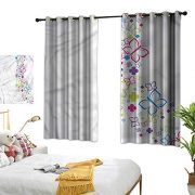 Marshome Sliding Curtains Surreal Floral Moth Motifs Privacy Protection