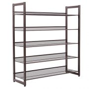SONGMICS 5-Tier Metal Shoe Rack Adjustable to Flat or Slant Shoe Organizer