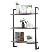 GWH Industrial Metal and Wood Wall Shelf Unit,Rustic Floating Wood