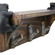 Ebros Whimsical 2 Climbing Black Bears with 3 Birch Branch Coat Hooks
