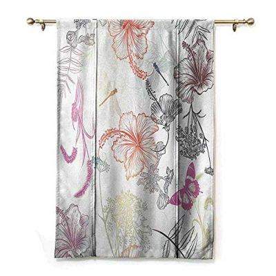 SEMZUXCVO Roman Curtain Country Decor Floral Design