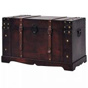 Fesnight Treasure Chest Wood Storage Box Trunk Cabinet Collection Furniture Decor