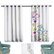 YOFUHOME Colorful Home Decor Simple Curtain Hand Drawn Fantasy