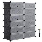 SONGMICS Shoe Rack, DIY Plastic Storage Organizer,Modular closet cabinet